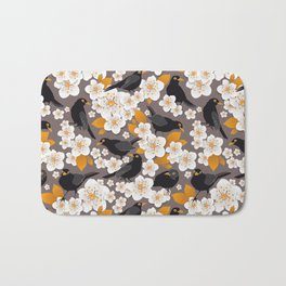 Waiting for the cherries II // Blackbirds brown background Bath Mat