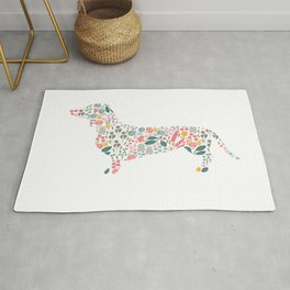Dachshund Floral Watercolor Art Rug