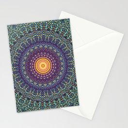 Happy Sun Circle Bohemian Geometric Thread Weave Pattern \\ Yellow Green Blue Purple Color Scheme Stationery Cards