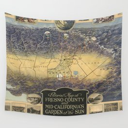 Vintage Map of Fresno California (1919) Wall Tapestry