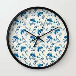 Doodle flowers in blue Wall Clock