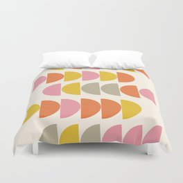 Cute Geometric Shapes Pattern in Pink Orange and Yellow Duvet Cover