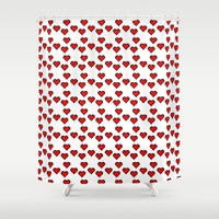 8 bit Shower Curtains featuring 8 BIT HEART by Bianca Lopomo