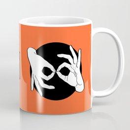 Sign Language (ASL) Interpreter – White on Black 08 Coffee Mug
