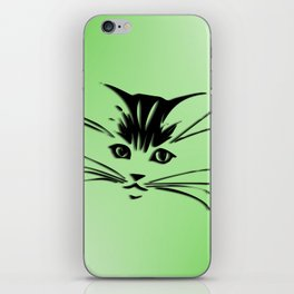 Green Cat Face iPhone Skin