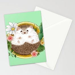 Hedgehog with cactus Stationery Cards