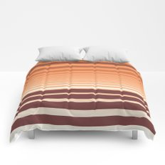 Ombre Horizontal Sienna and Orange Stripes Comforters