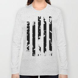 Splatter Bars - Black ink, black paint splats in a stripey stripy pattern Long Sleeve T-shirt