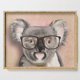 Funny koala with glasses Serving Tray