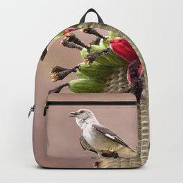 Watercolor Bird, Mockingbird 01, on Fruiting Saguaro Cactus, Ventana Canyon, Arizona Backpack