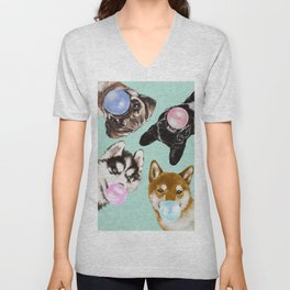 Playful Doggie Bubble Gum Gang in Green Unisex V-Neck