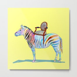 animals with chairs #4 Chair on a Zebra Metal Print