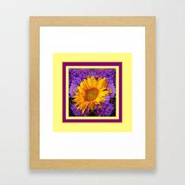 KANSAS SUNFLOWER PURPLE DECO GRAPHIC Framed Art Print