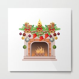 Decorated Christmas Fireplace Metal Print