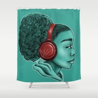 headphones Shower Curtains featuring Headphones by KiraTheArtist