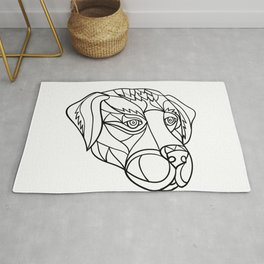 Labrador Dog Head Mosaic Black and White Rug
