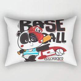 Panda Baseball - Cute Happy Sports Panda Bear KIDS Rectangular Pillow