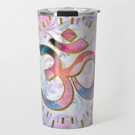 Watercolor OM symbol  with golden accents Travel Mug
