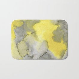 Hand painted gray yellow abstract watercolor pattern Bath Mat