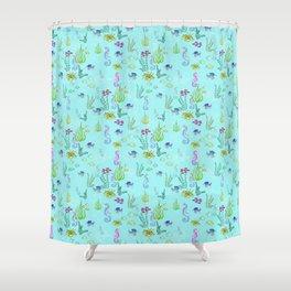 Seahorse Botanical Shower Curtain