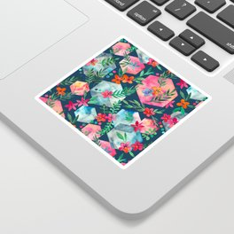 Whimsical Hexagon Garden on Blue Sticker
