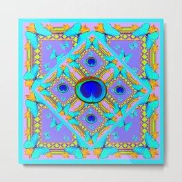 Pastel Turquoise Butterflies & Lilac Pattern Metal Print