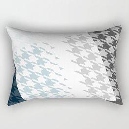 Modern Houndstooth Reinterpreted A – Navy / Gray / White Checked Pattern Rectangular Pillow