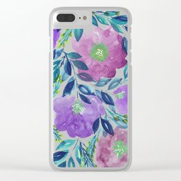 hand painted flowers_1b Clear iPhone Case