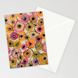 Circles and Flowers- Yellow Stationery Cards