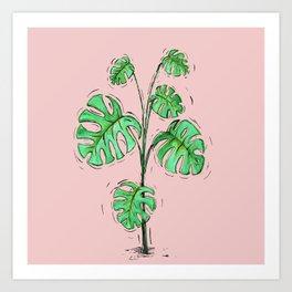 Monstera deliciosa green version Art Print