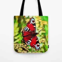 Peacock Butterfly Dream | Aglais io - Oil Painting  Tote Bag