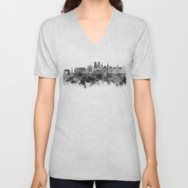 Reims skyline in black watercolor Unisex V-Neck