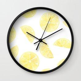 Watercolor Lemon Slices Wall Clock