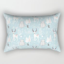 From Mice Bears Deers And Christmas-Cute teal X-Mas Pattern Rectangular Pillow