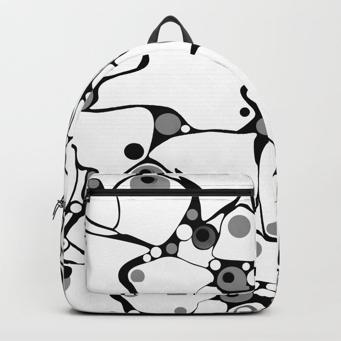 Abstract black and white polka dot pattern 2 .White background . Backpack