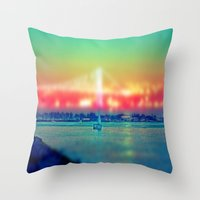 sailboat Throw Pillows featuring Sailboat by Ekrem Emre Ünlü