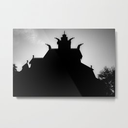 Stave Church Outline Metal Print