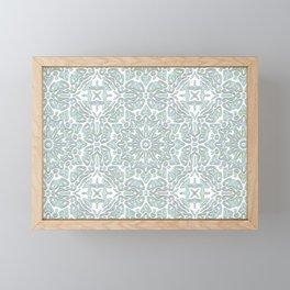 Turquoise Teal Faux Glitter Ornamental Pattern Framed Mini Art Print