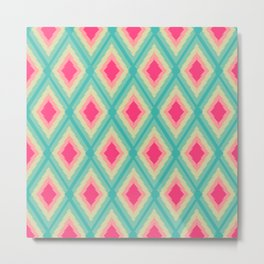Geometric Ikat Pink Red Green Tribal Girly Pattern Metal Print