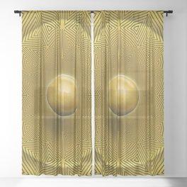 Golden Sunrise Pattern Sheer Curtain