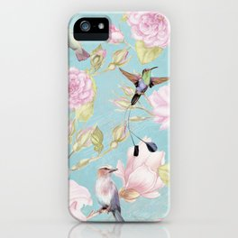 Pastel Teal Vintage Roses and Hummingbird Pattern iPhone Case