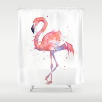 flamingo Shower Curtains featuring Flamingo  by Olechka