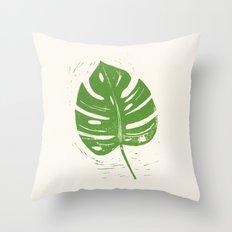 Linocut Leaf Throw Pillow