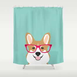 Teagan Glasses Corgi cute puppy welsh corgi gifts for dog lovers and pet owners love corgi puppies Shower Curtain