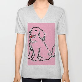 Cachorro Rosa Unisex V-Neck