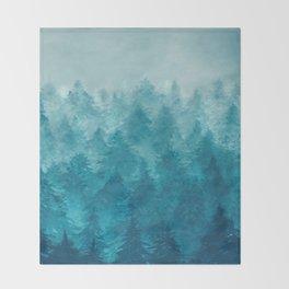 Misty Pine Forest 2 Throw Blanket