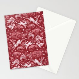 Hares Field, Jumping Rabbits Winter Holidays Pattern, Red White Stationery Cards