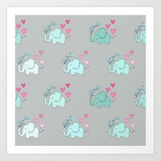 Elephant Love Walk Gray Art Print