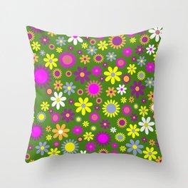 Multicolored Flower Garden Pattern Throw Pillow