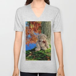 autumn reflections with teddy bear Unisex V-Neck